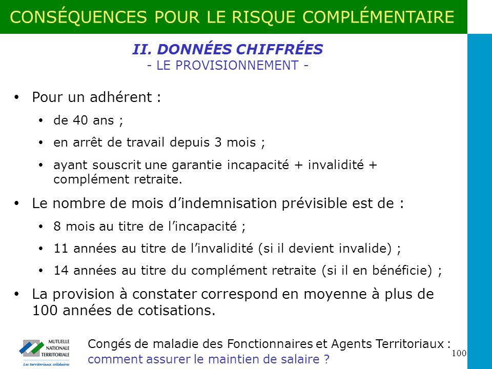 II. DONNÉES CHIFFRÉES - LE PROVISIONNEMENT -