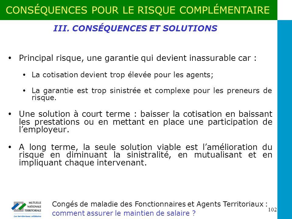 III. CONSÉQUENCES ET SOLUTIONS