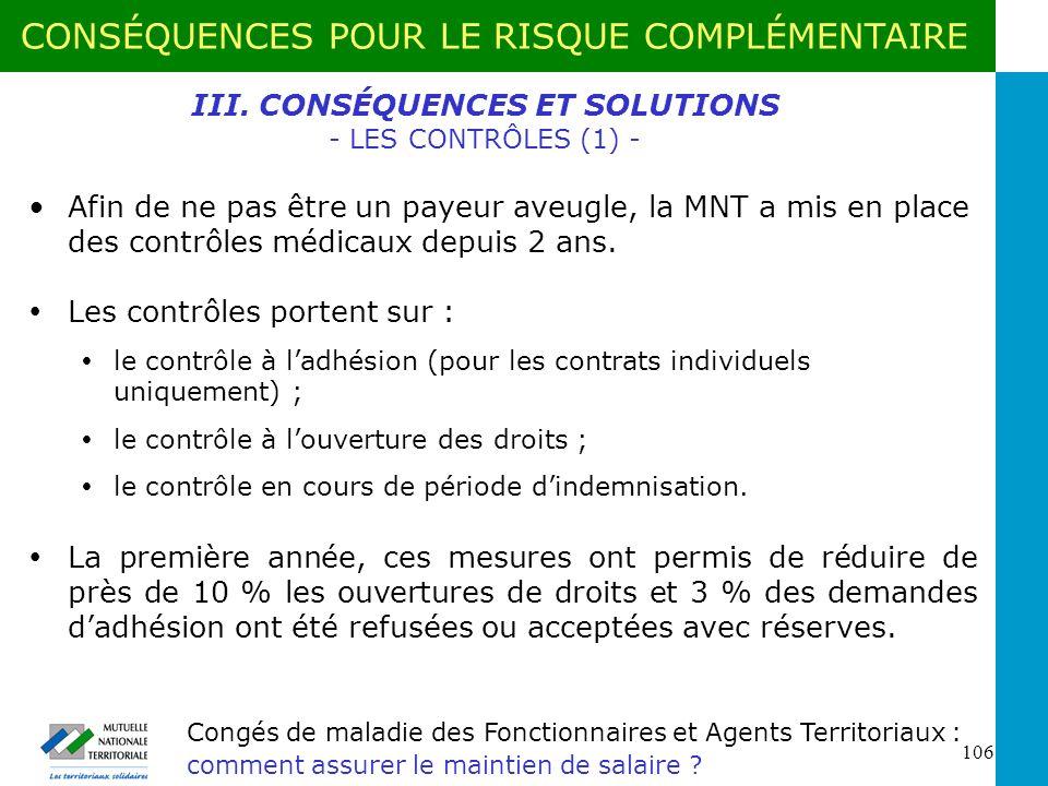 III. CONSÉQUENCES ET SOLUTIONS - LES CONTRÔLES (1) -
