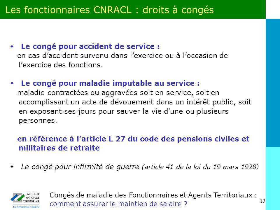 Les fonctionnaires CNRACL : droits à congés