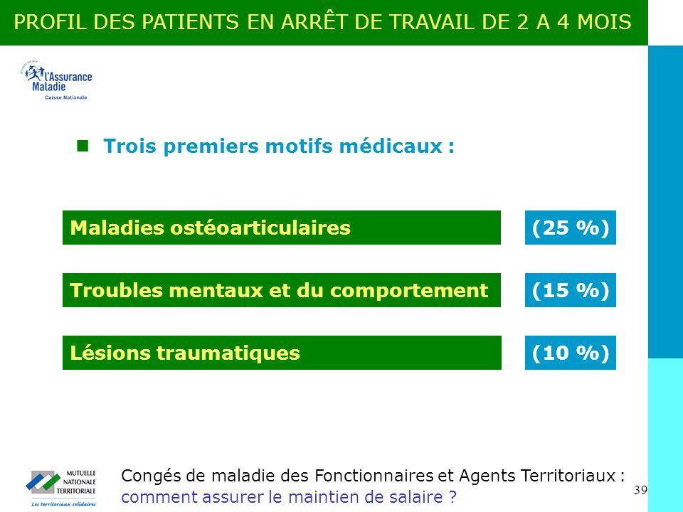 PROFIL DES PATIENTS EN ARRÊT DE TRAVAIL DE 2 A 4 MOIS