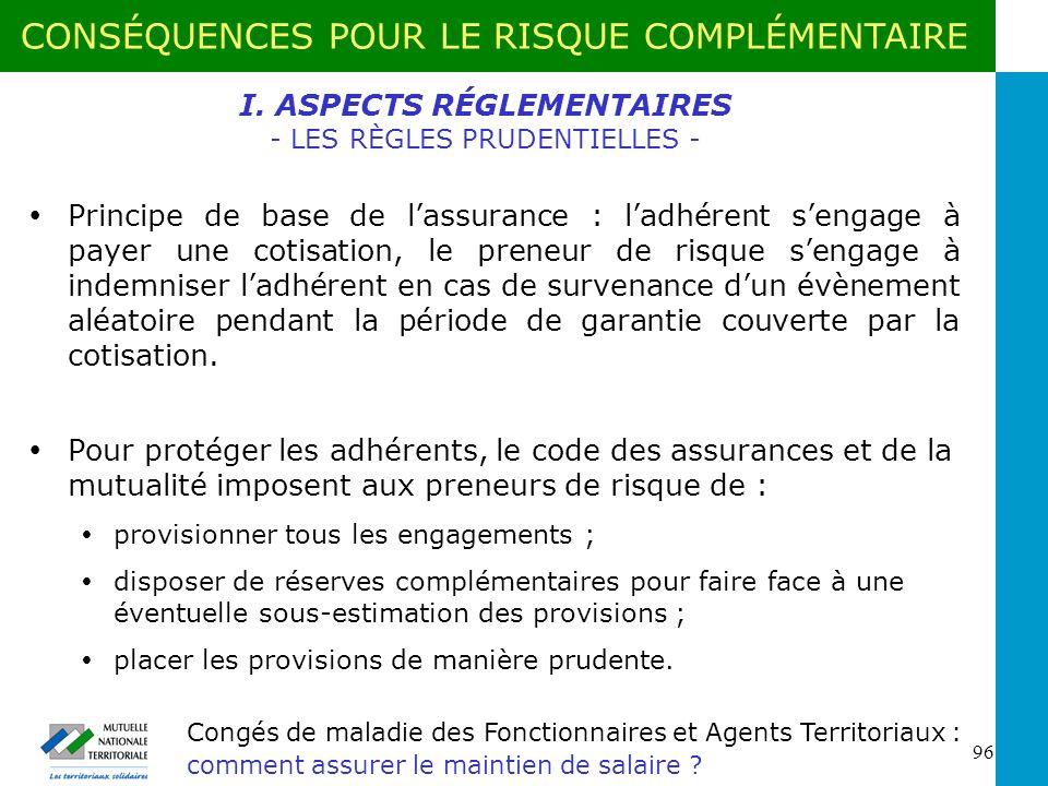 I. ASPECTS RÉGLEMENTAIRES - LES RÈGLES PRUDENTIELLES -