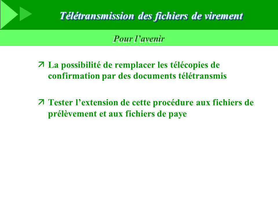 Télétransmission des fichiers de virement