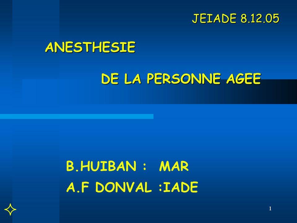 JEIADE 8.12.05 ANESTHESIE DE LA PERSONNE AGEE