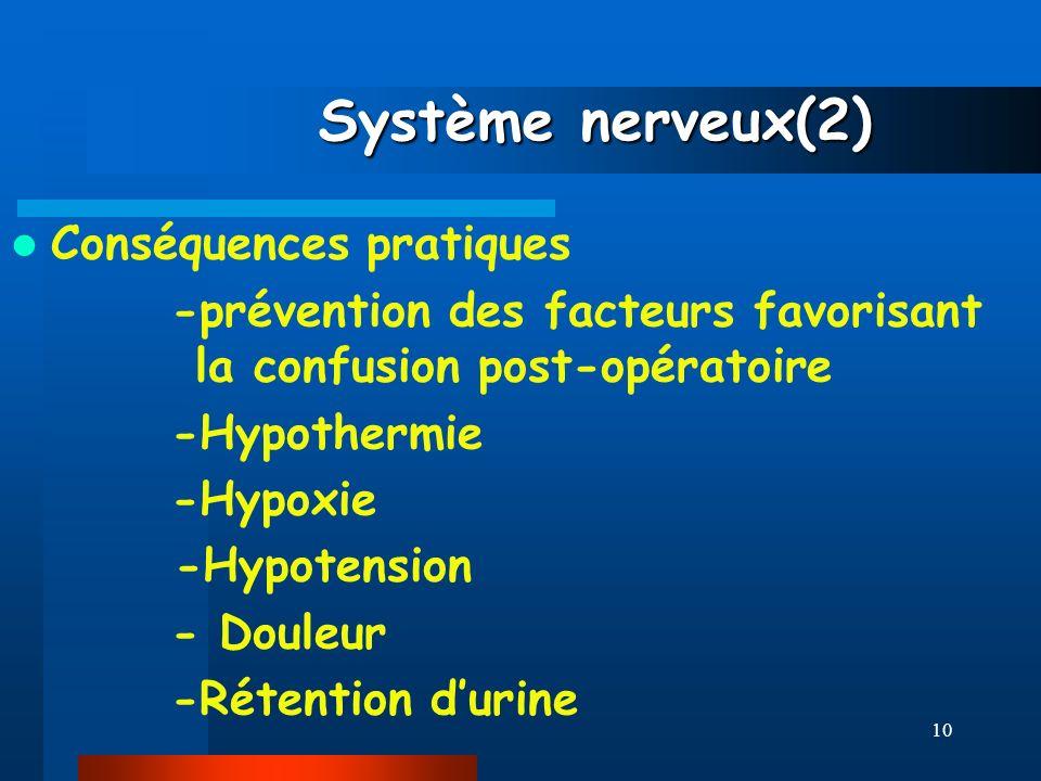 Système nerveux(2) Conséquences pratiques