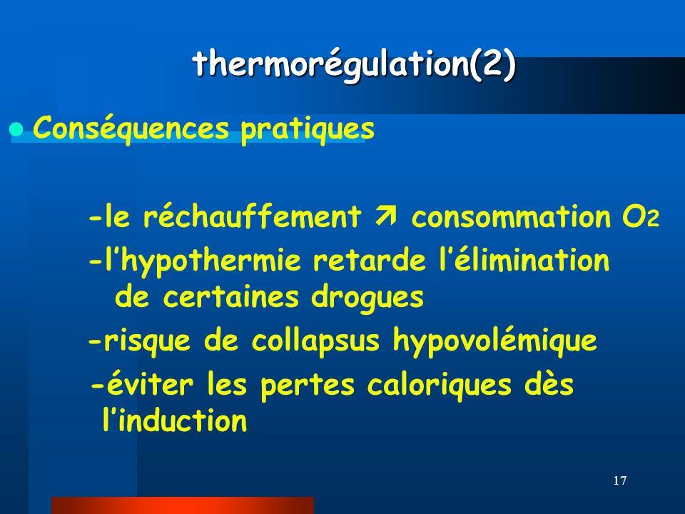 thermorégulation(2) Conséquences pratiques