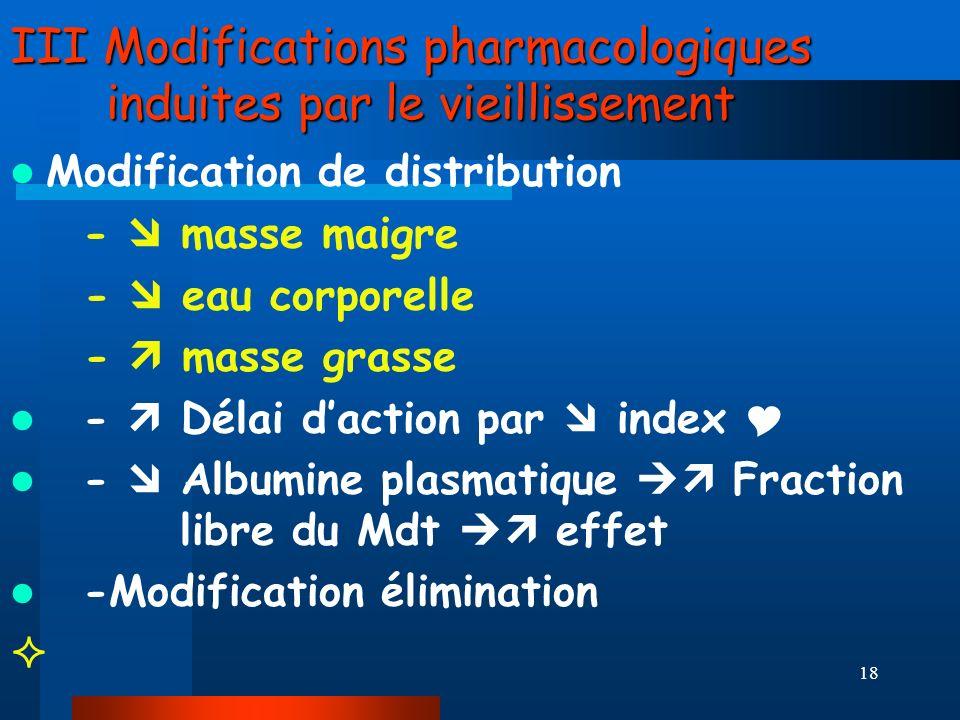 III Modifications pharmacologiques induites par le vieillissement