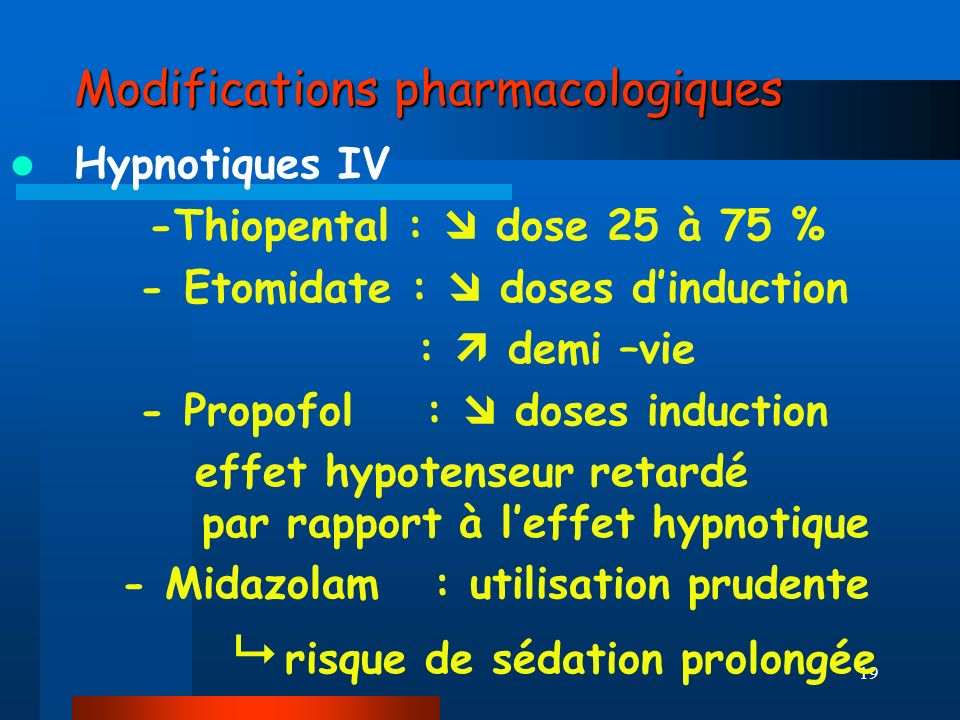 Modifications pharmacologiques