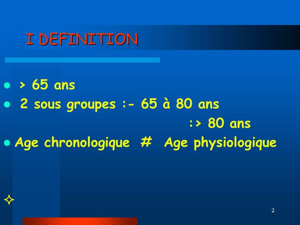 I DEFINITION > 65 ans 2 sous groupes :- 65 à 80 ans :> 80 ans