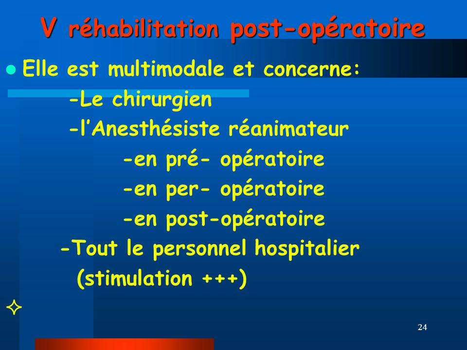 V réhabilitation post-opératoire