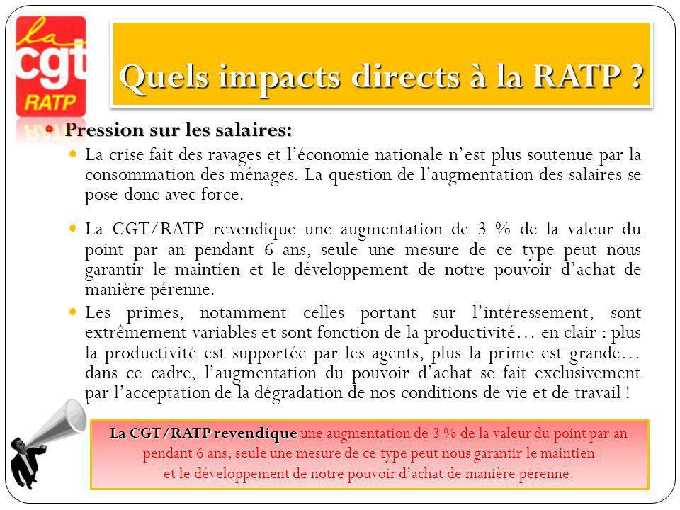 Quels impacts directs à la RATP