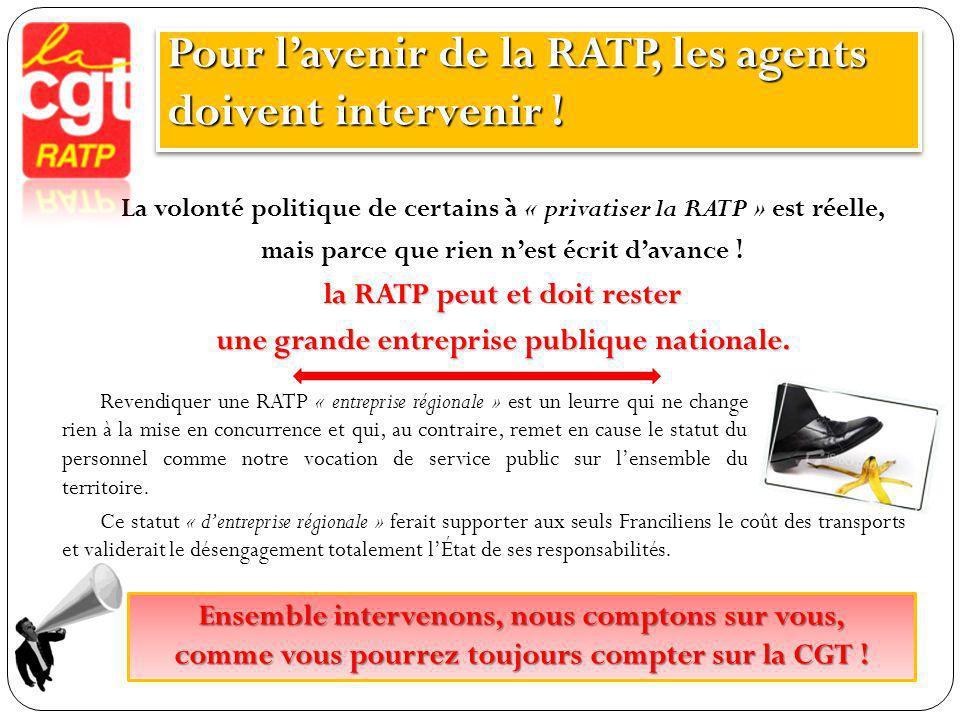 Pour l'avenir de la RATP, les agents doivent intervenir !