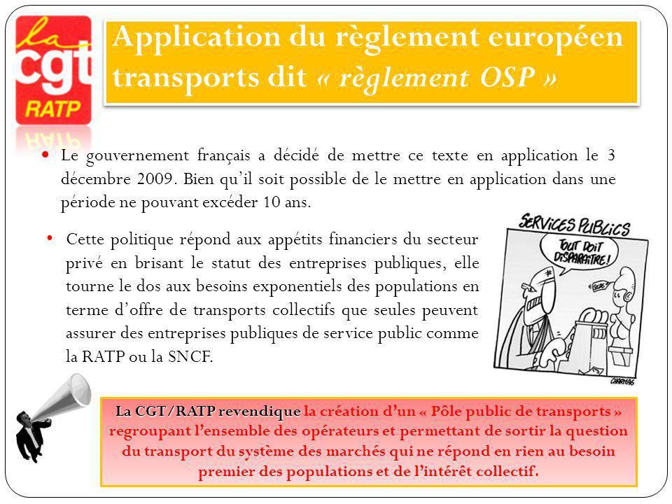 Application du règlement européen transports dit « règlement OSP »