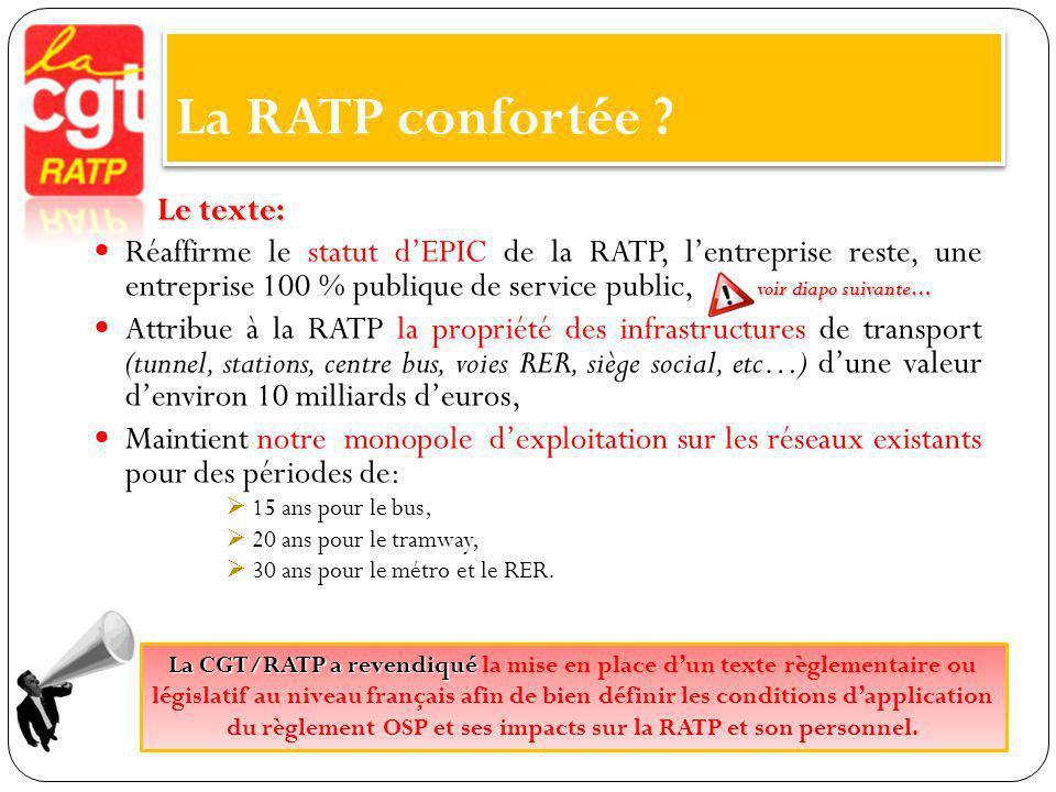 La RATP confortée Le texte: