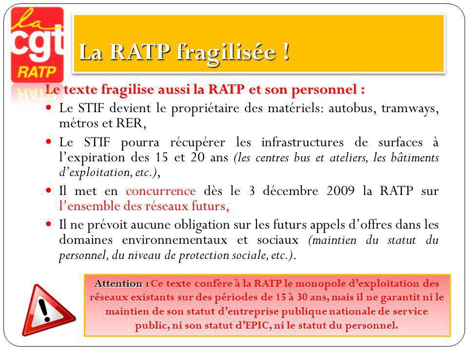 La RATP fragilisée ! Le texte fragilise aussi la RATP et son personnel :