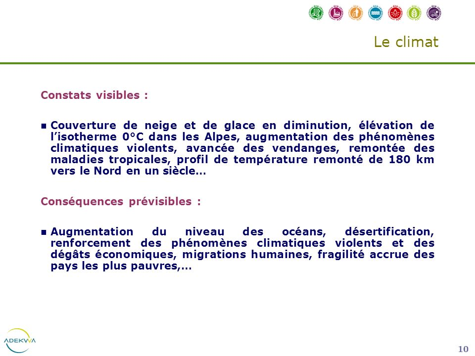Le climat Constats visibles :