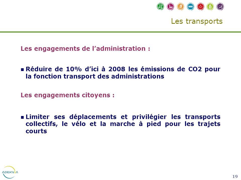 Les transports Les engagements de l'administration :
