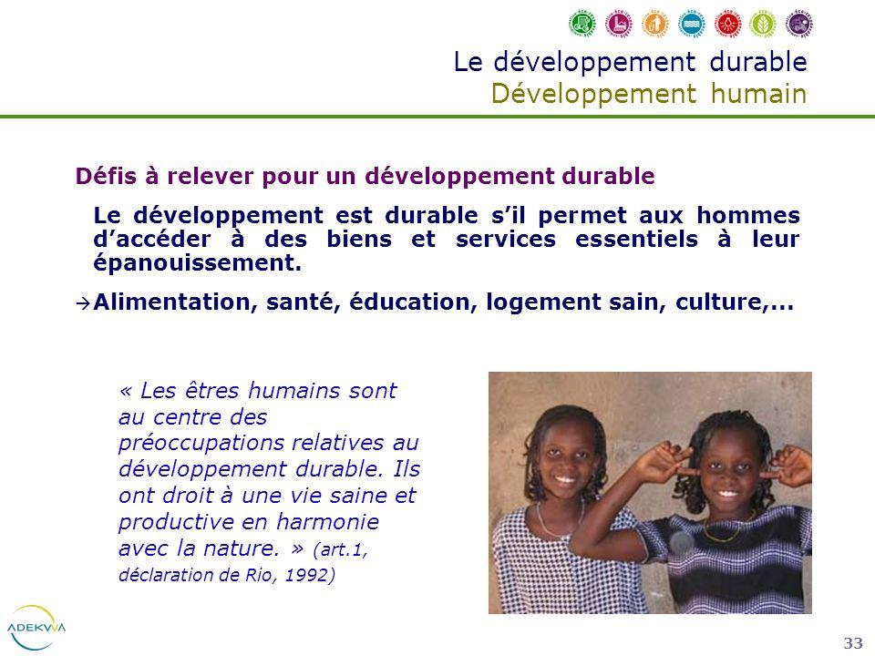 Le développement durable Développement humain