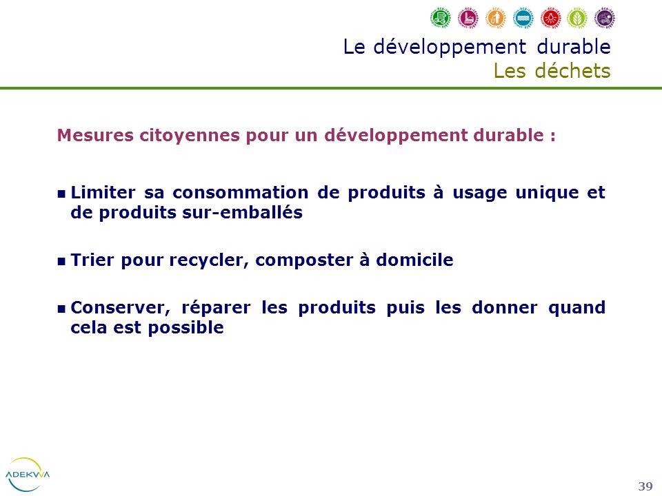 Le développement durable Les déchets