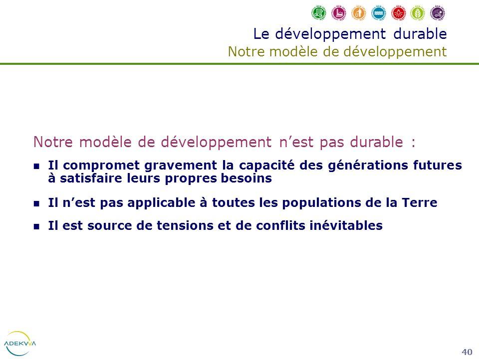 Le développement durable Notre modèle de développement