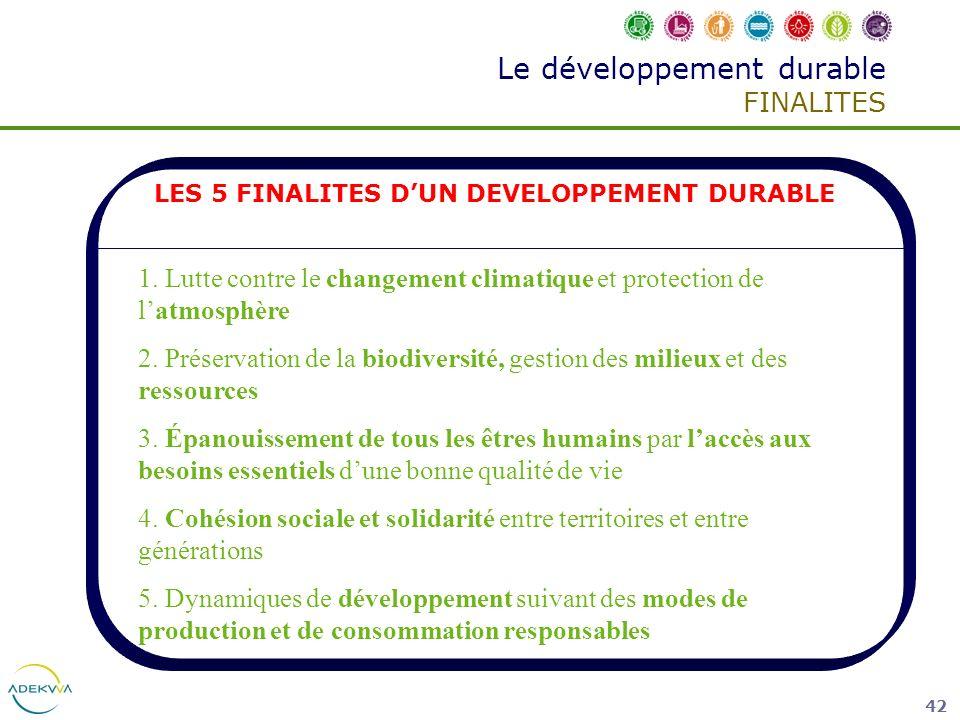Le développement durable FINALITES