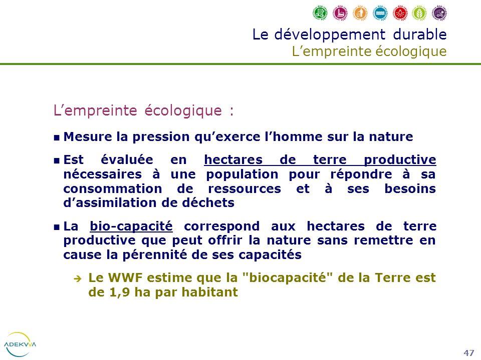 Le développement durable L'empreinte écologique