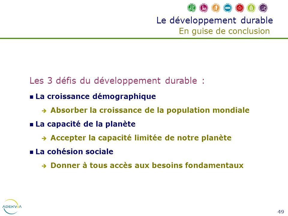 Le développement durable En guise de conclusion