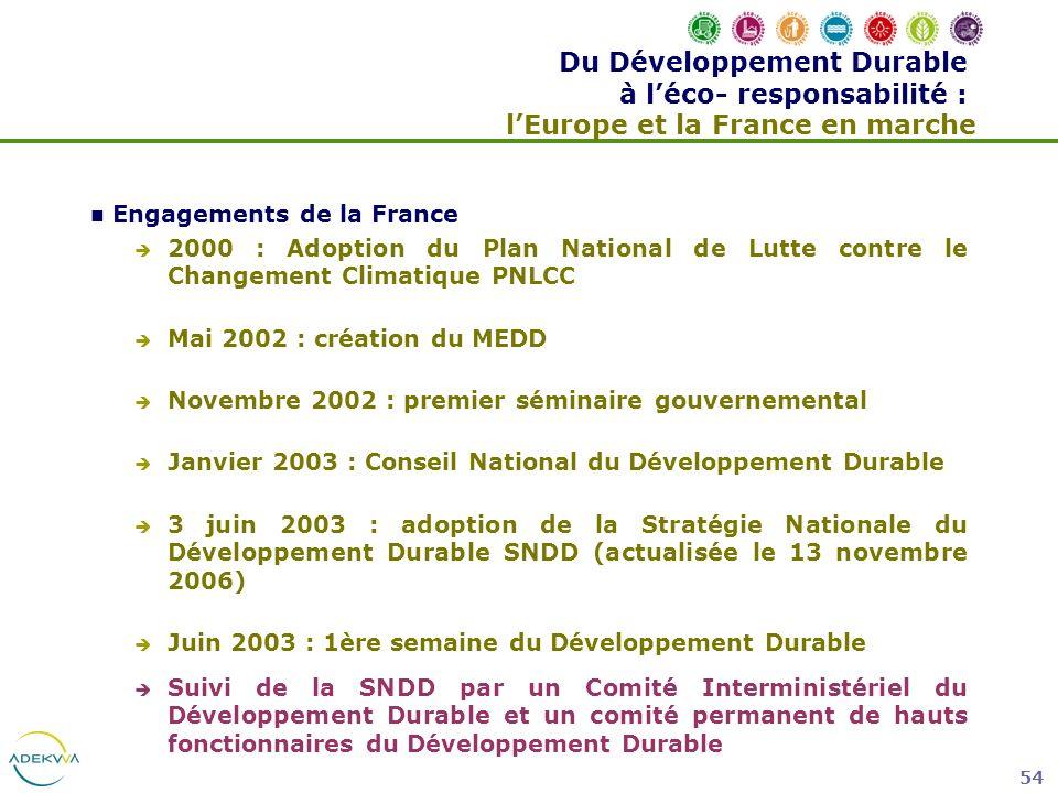 Du Développement Durable à l'éco- responsabilité : l'Europe et la France en marche