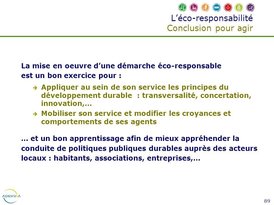 L'éco-responsabilité Conclusion pour agir