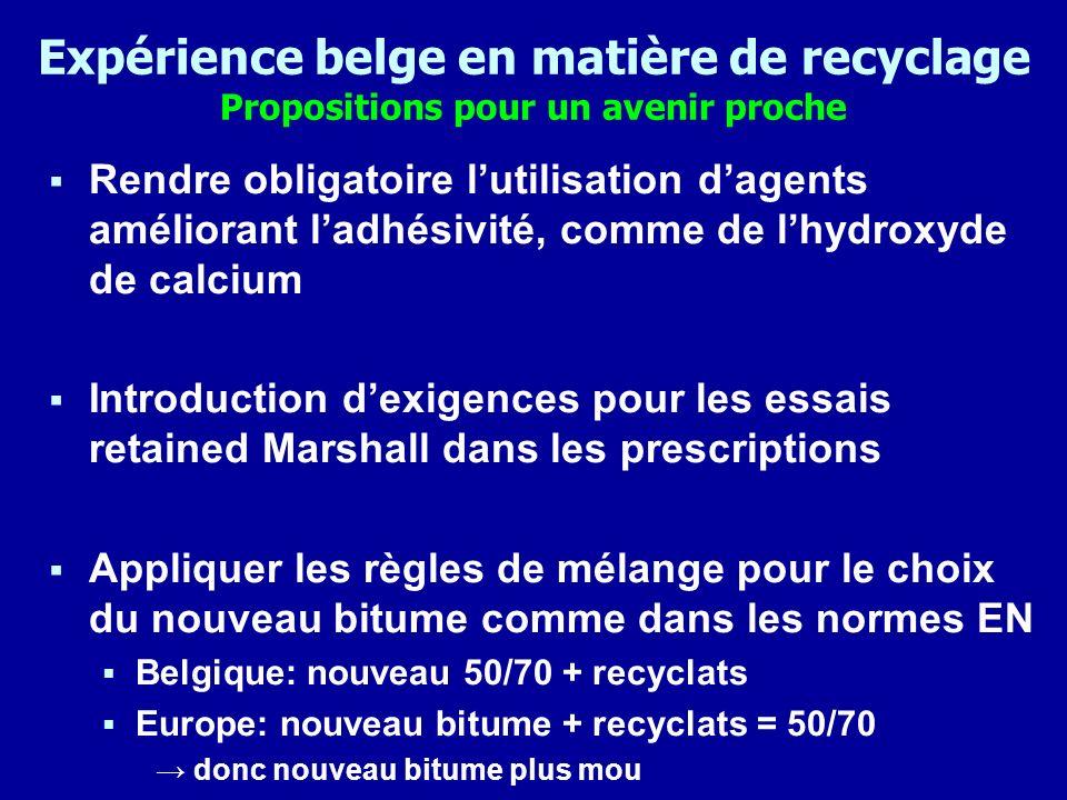 Expérience belge en matière de recyclage Propositions pour un avenir proche