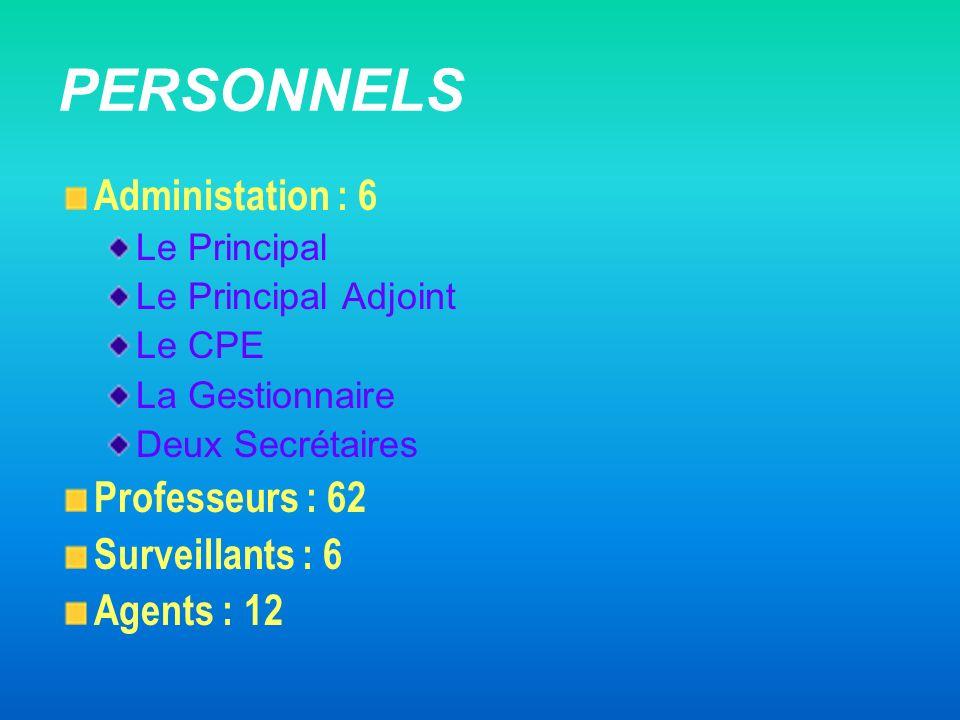 PERSONNELS Administation : 6 Professeurs : 62 Surveillants : 6