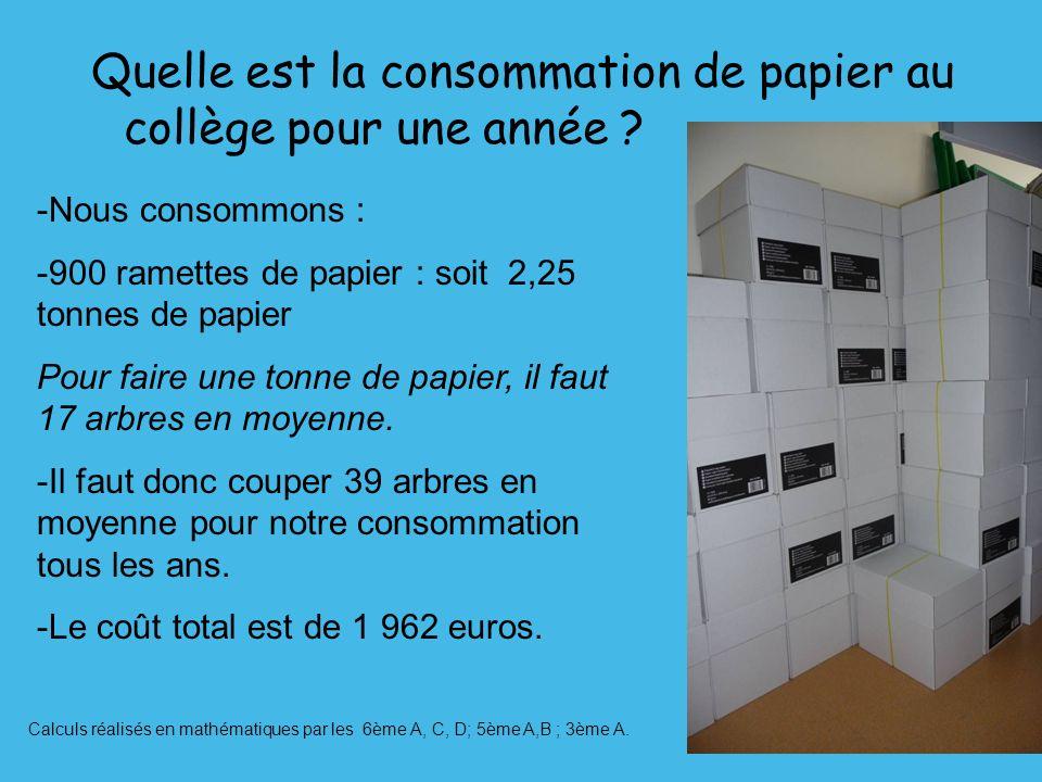 Quelle est la consommation de papier au collège pour une année