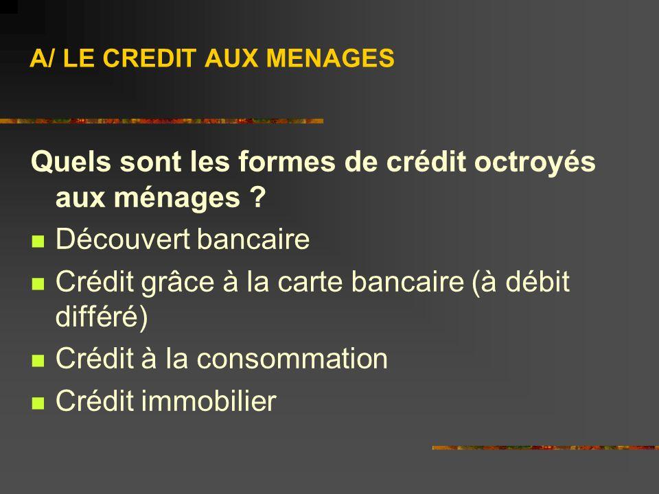 A/ LE CREDIT AUX MENAGES