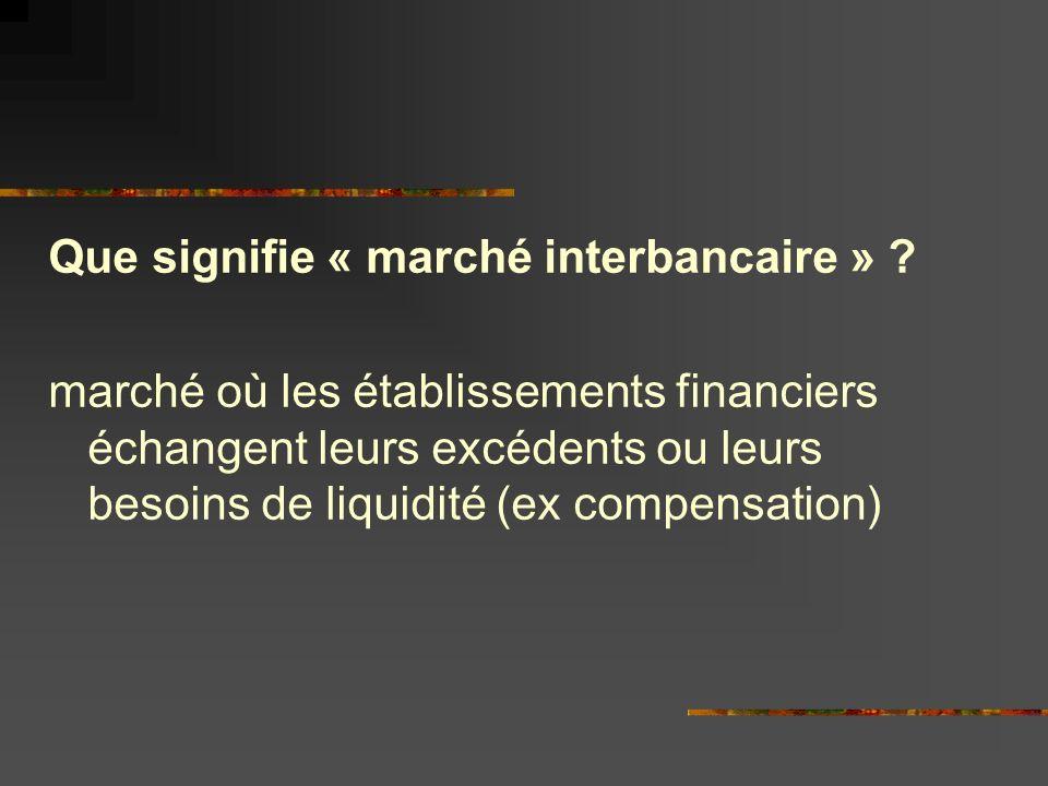 Que signifie « marché interbancaire »