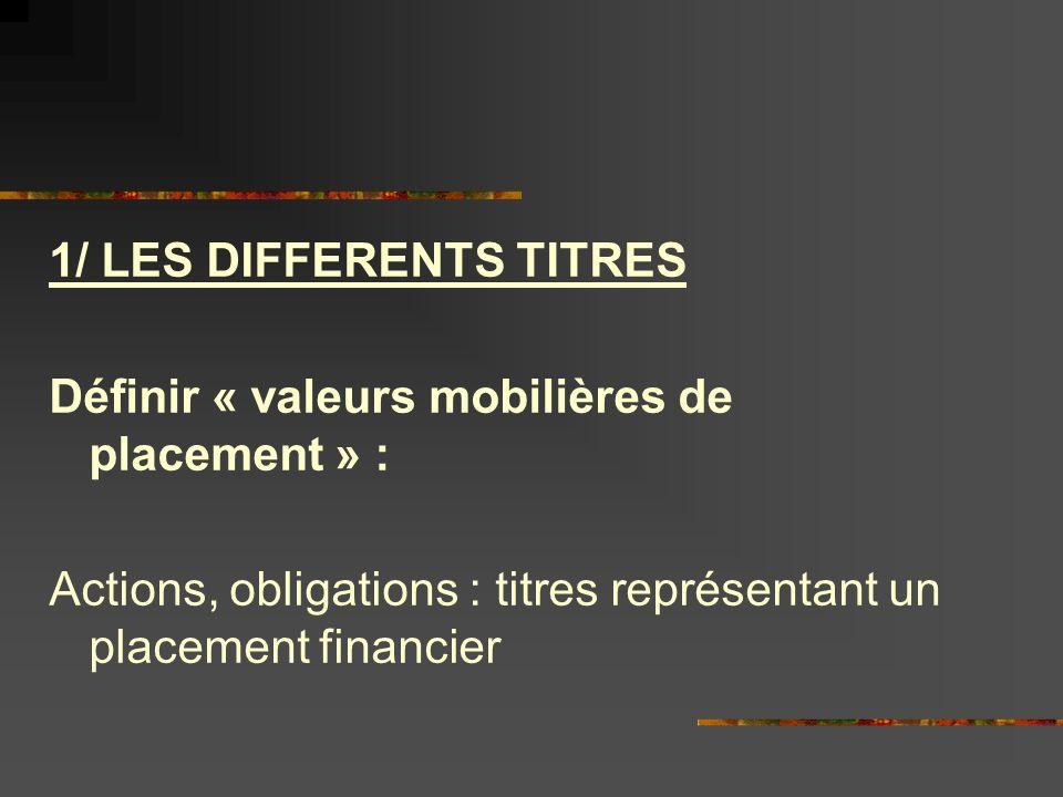 1/ LES DIFFERENTS TITRES
