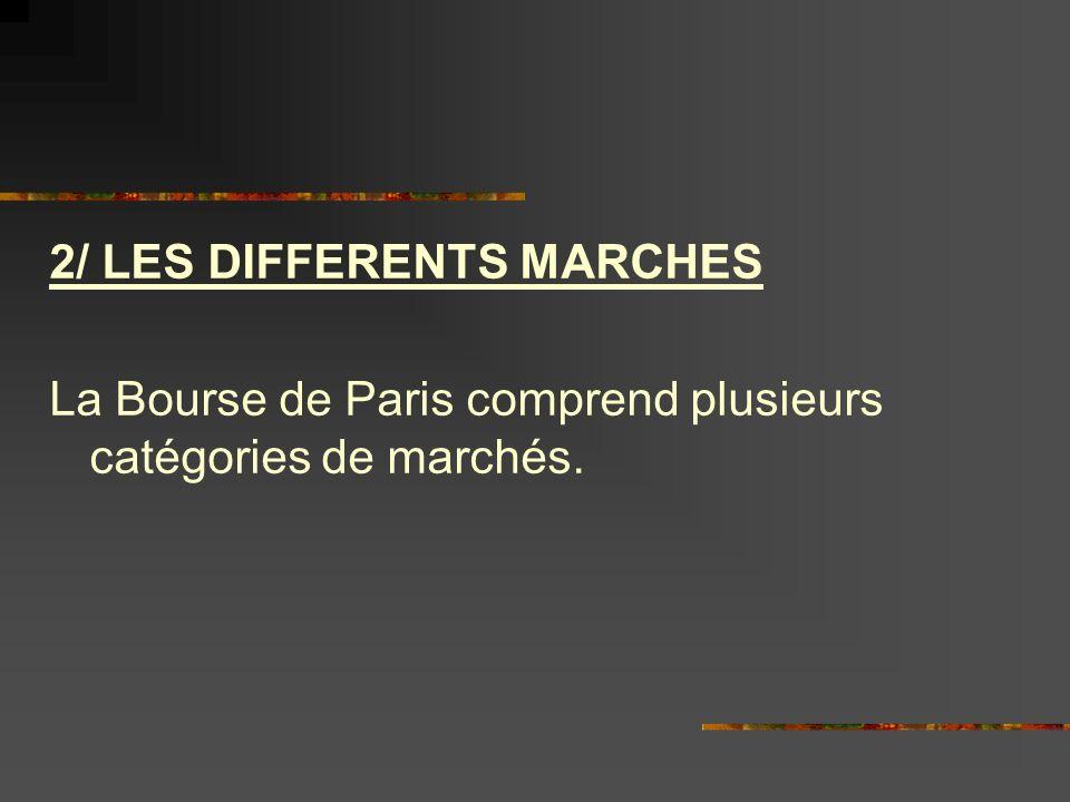 2/ LES DIFFERENTS MARCHES