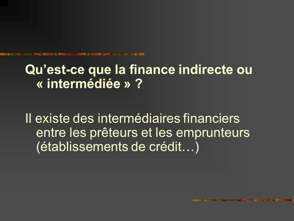 Qu'est-ce que la finance indirecte ou « intermédiée »
