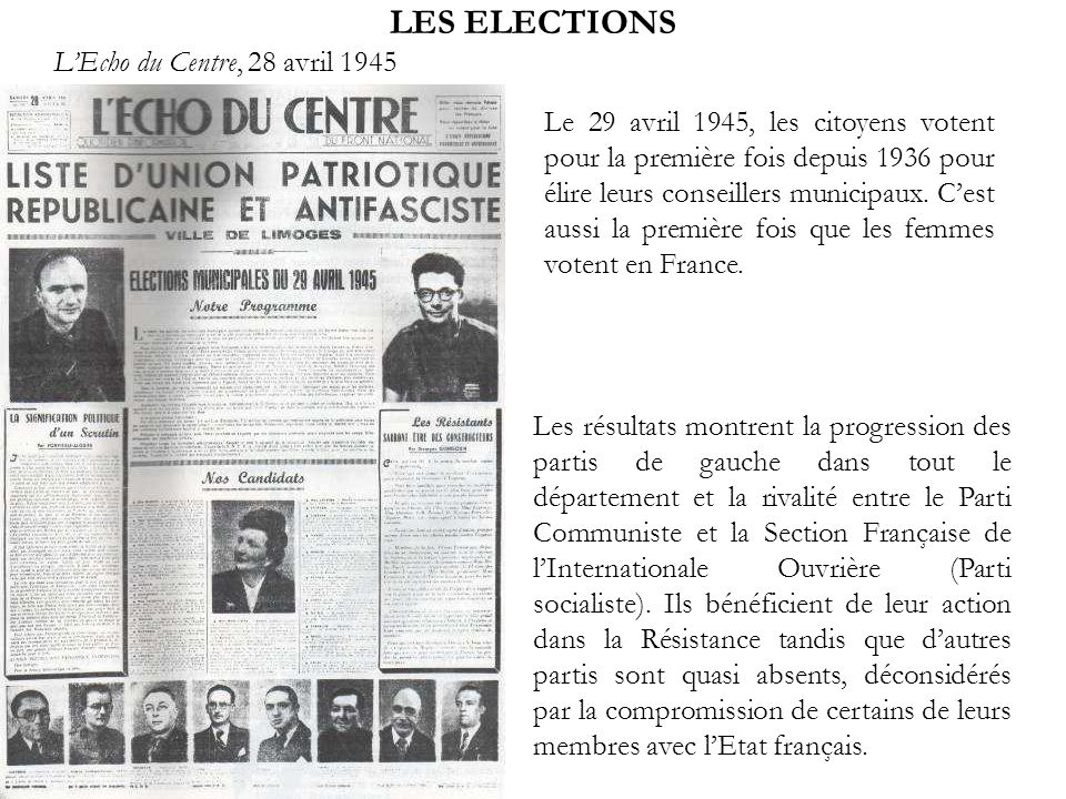 LES ELECTIONS L'Echo du Centre, 28 avril 1945