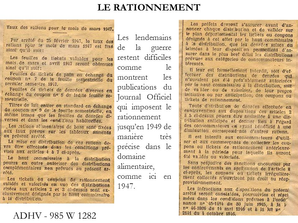 LE RATIONNEMENT ADHV - 985 W 1282