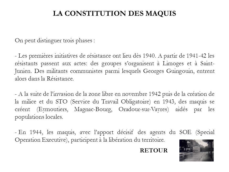 LA CONSTITUTION DES MAQUIS