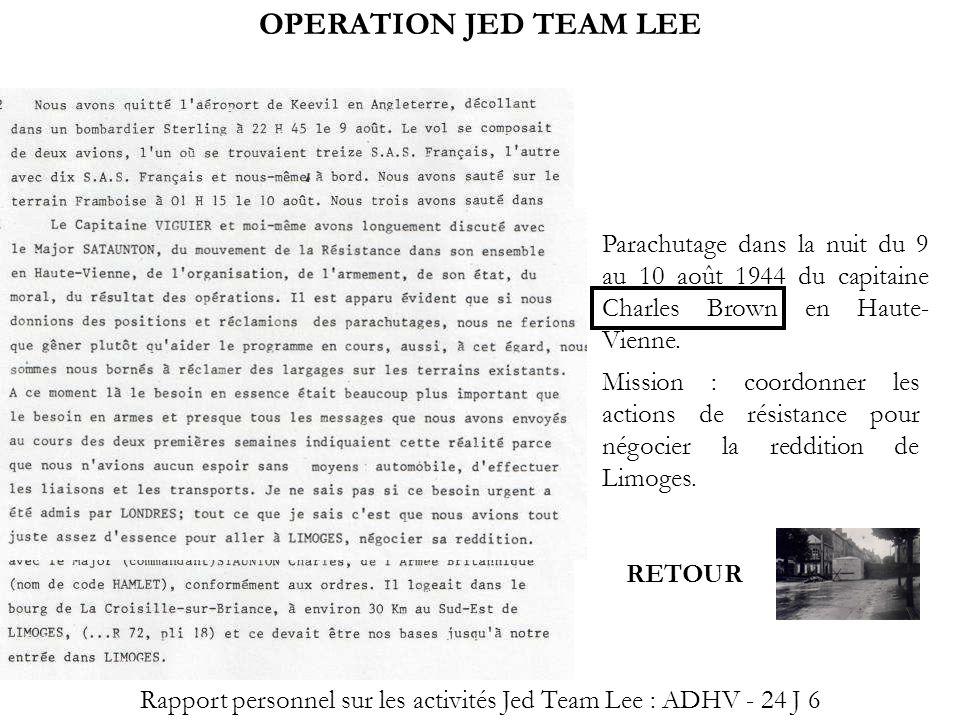 Rapport personnel sur les activités Jed Team Lee : ADHV - 24 J 6