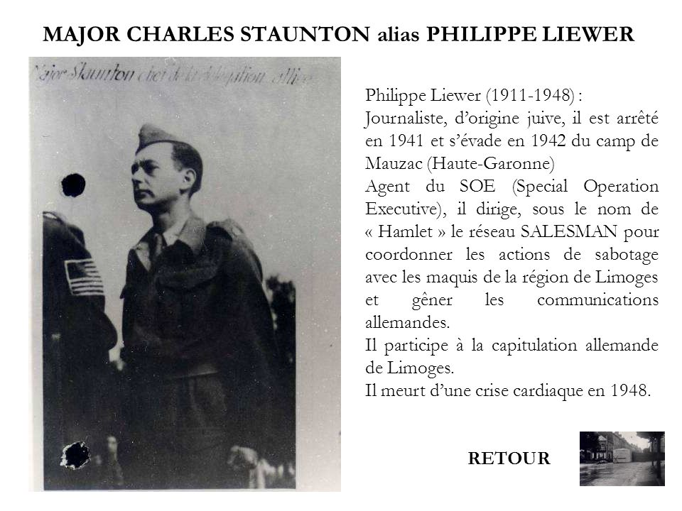MAJOR CHARLES STAUNTON alias PHILIPPE LIEWER