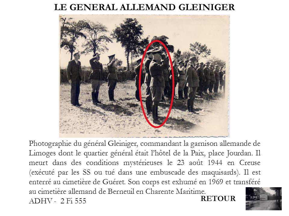 LE GENERAL ALLEMAND GLEINIGER