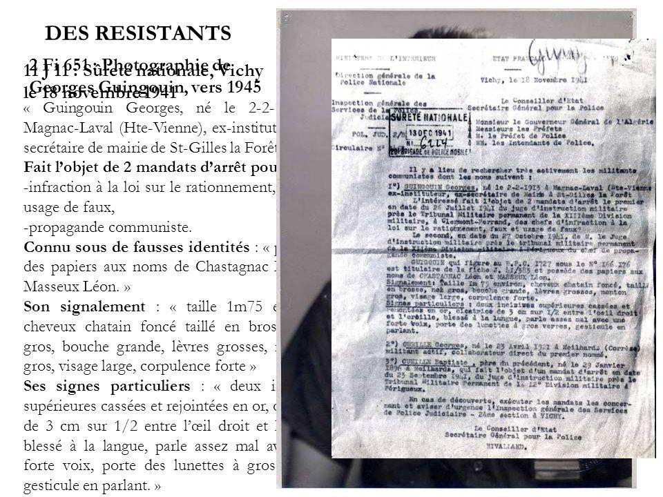 DES RESISTANTS 2 Fi 651 : Photographie de Georges Guingouin, vers 1945