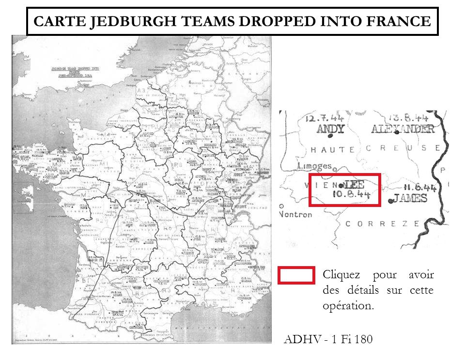 CARTE JEDBURGH TEAMS DROPPED INTO FRANCE