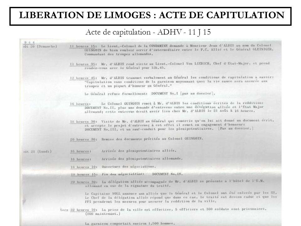 LIBERATION DE LIMOGES : ACTE DE CAPITULATION