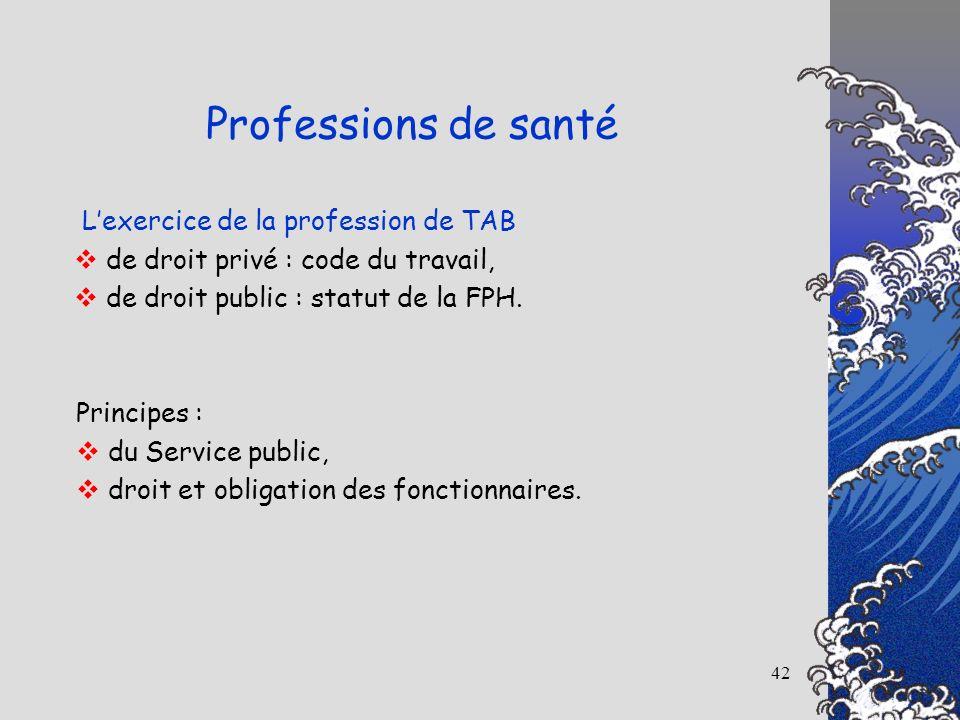 Professions de santé L'exercice de la profession de TAB