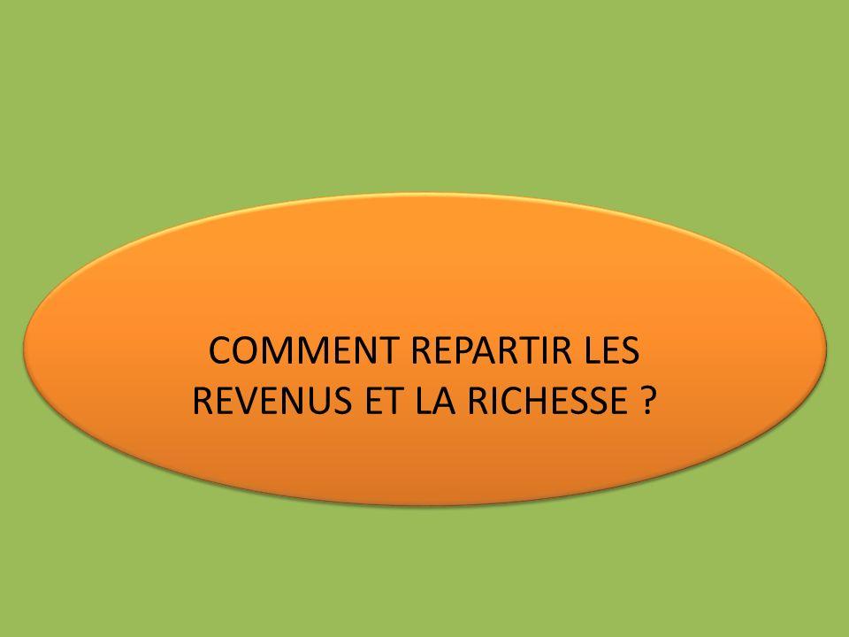 COMMENT REPARTIR LES REVENUS ET LA RICHESSE