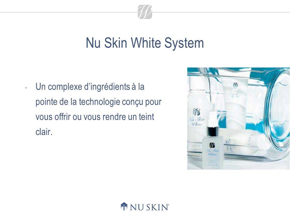 Nu Skin White System Un complexe d'ingrédients à la pointe de la technologie conçu pour vous offrir ou vous rendre un teint clair.