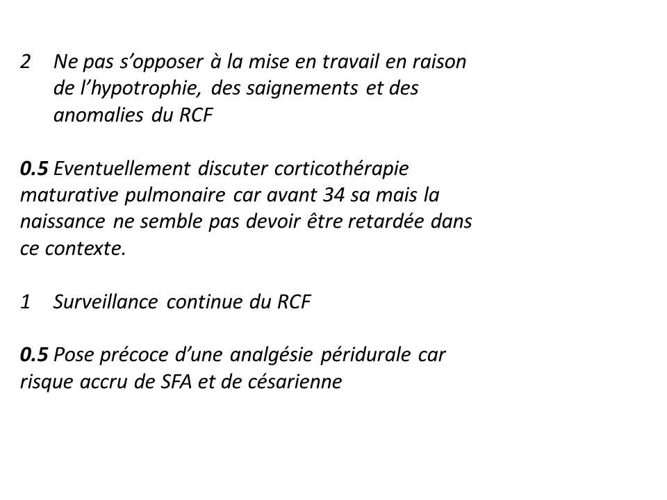 Ne pas s'opposer à la mise en travail en raison de l'hypotrophie, des saignements et des anomalies du RCF